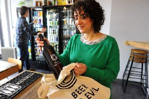 Gemma Clegg and Gareth Harries in Beer No Evil, their shop / beer bar in Worthing. Picture: Steve Robards SR2003062