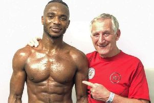 Linus Udofia and coach Terry Steward