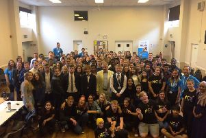 East Worthing and Shoreham MP Tim Loughton celebrating the success of NCS with the 2018 groups in Adur and Worthing