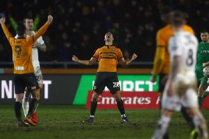 Mickey Demetriou celebrates Newport's FA Cup replay win over Middlesbrough. Picture: Getty Images