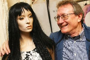 Jeff Connor with Sonia the mannequin at Quality Kwik Dry Cleaners in Durrington. Picture: Derek Martin