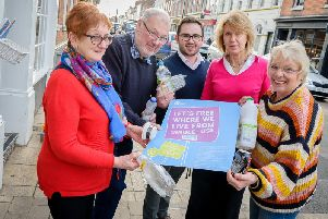 Warwick is making strides to become a plastic free town.'Pictured: Cllr Lyn Bolton, Cllr Martyn Ashford, Cllr Richard Edgington, Jayne Topham (Town Clerk) and Cllr Moira Ann Grainger.