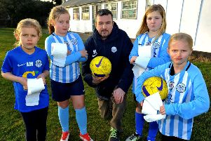 Jason NIcholls with Worthing United girls' team members