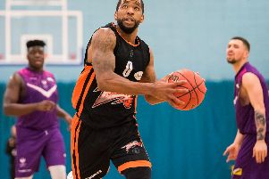 Jorge Ebanks led the scoring with 24 points as Worthing Thunder toppled title rivals Team Solent Kestrels. Picture: Kyle Hemsley