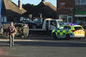 The scene in the A259, Goring. Pic: Reece Willson
