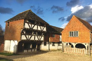 The Medieval Shop from Horsham, conserved by the Weald & Downland Museum in 1967 when Middle Street was redeveloped, and The Market Hall from Titchfield. SUS-190218-105852001