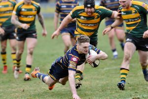 Curtis Barnes gets one of his two tries against Bury St Edmunds. Picture: Stephen Goodger