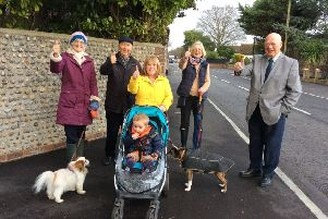 Councillors with chairman Ken Carr and residents Virginia Kemp and Nicky Prior with grandson Ledley