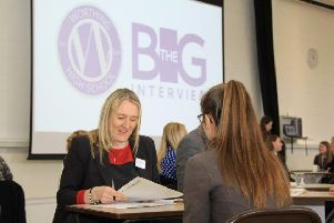A Worthing High School student being interviewed at The Big Interview event