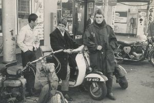 Outside the Clifton Cafe on February 4, 1967, from left, Tom Lee, Brian 'Bunny' Silcock and Ian Turner