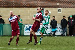 Scott Jones watches his left-foot shot go in to complete a perfect hat-trick / Picture by Daniel Harker