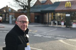 Robert Eggleston, Mid Sussex PPC, outside McDonald's in Burgess Hill