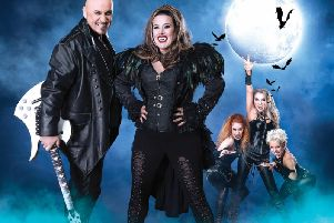 Steve Steinman as Baron Von Rockula and X Factor winner Sam Bailey as the Vampire Queen in Vampires Rock Ghost Train