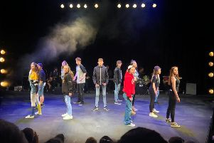 The cast of 13 the musical from Star Ignited Performance Academy on stage at The Other Palace Theatre