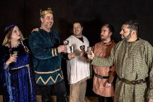 Wick Theatre Company's cast for Macbeth, Jaqueline Harper-Felman as Lady Macbeth, Guy Steddon as Macbeth, Sam Rasavi as Lennox, Elliot Robinson as Angus and Dan Dryer as Ross
