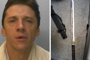Julijs Andrianovs was found slumped in his car and officers discovered a sword (pictured) in the boot. Pictures: Sussex Police