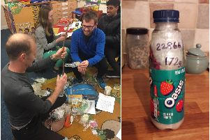 Left: a bottle being packed to create an 'ecobrick' and right shows a packed bottle. Photos supplied.