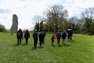One of the groups walking up the hill at Bramber Castle