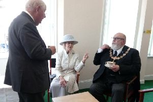 Princess Alexandra chatting with Worthing mayor Paul Baker