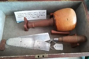 The ceremonial trowel and mallet used to lay the foundation stone at the council flats in Fishersgate