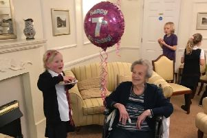 Madge Colbourne celebrating her birthday at home with her grea -granddaughter Madelaine who turned seven on the same day