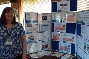 Acorn Pregnancy Counselling Centre manager Angela Geach with an information stand