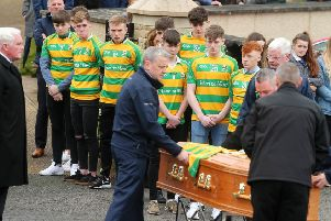 The''funeral of 16-year-old Connor Currie at St Malachy's Church in Edendork, Co. Tyrone.  Connor died along with Morgan Barnard (17) and 17-year-old Lauren Bullock after an incident at the Greenvale Hotel in Cookstown on St Patrick's night. ''Picture by Jonathan Porter/PressEye.com