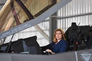 Defence Secretary Penny Mordaunt sits in the cockpit of a F-35 Lightning jet at RAF Akrotiri in Cyprus to mark the jets first deployment overseas. Picture: Jacob King/PA Wire