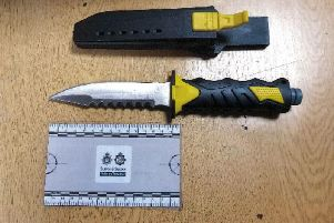 The knife that was seized from the defendant. Picture: Sussex Police