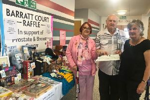 Len Smith with Barratt Court Residents' Association treasurer June Robinson (right)  and Dawn Asplen, who was there to support him.