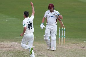 Adam Rossington was dismissed by Graham Onions on day two