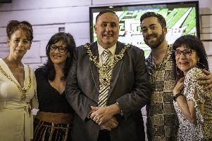 From left, the Lady Mayoress Mrs Leza Tremorin, Hannah Francis, the Lord Mayor David Fuller, Bradley Craig and Debbie Hill at the launch of The Beauty Clinic at Drift Bar in Southsea. Picture: Rachael Holmes