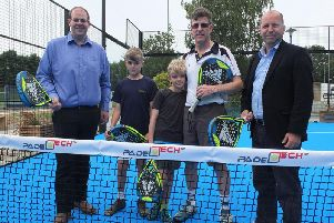 (from left to right) Councillor Jonathan Ash-Edwards, Leader of Mid Sussex District Council, padel tennis players Patrick and Edward with their dad Piers and Councillor John Belsey, MSDC Cabinet Member for Environment and Service Delivery.