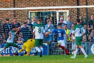 Adam May scores against Bognor last season. Picture: Tommy MacMillan