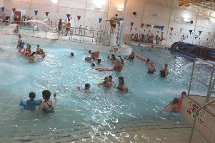 Families enjoyable the inflatables at Daventry Leisure Centre.
