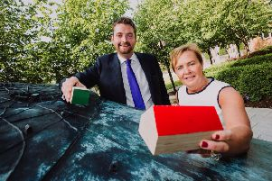 """Jacqui Dixon, BSc MBA, Chief Executive of Antrim and Newtownabbey Borough Council,  and Phillip Brett, Chair of the Planning Committee, launching the Council�""""s Draft Local Development Plan document. The full document and public consultation details can be found at: 'https://antrimandnewtownabbey.gov.uk/draftplanstrategy/ Picture John Murphy Aurora PA."""