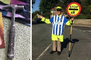 Lollipop man Keith Parkinson was on duty when a hammer was thrown at him