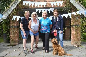Denise Haynes, Lesley Lock, Carolyn Dean and Suzy Stack with dog Paddy.