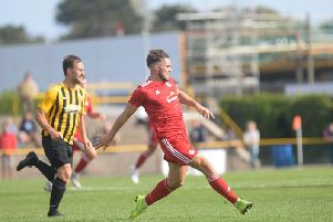 Lloyd Dawes was one of eight summer signings to feature in Worthing's opening-day defeat at Folkestone. Picture by Marcus Hoare