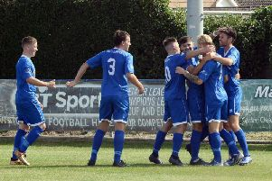 Selsey celebrate one of the goals that secured a 2-2 with Storrington / Picture by Kate Shemilt