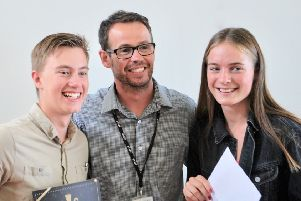 Chatsmore head teacher Peter Byrne with students Kieran Malandain and Jess Hurley