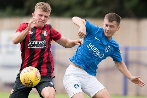 Alfie Stanley bagged a double for Pompey Academy at Oxford United. Picture: Duncan Shepherd