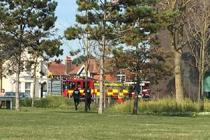 Police at the scene this afternoon