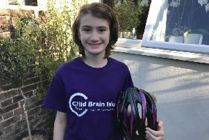 Tallulah Butcher-Clark, 11, cycled from Brighton to Worthing to raise money for Child Brain Injury Trust