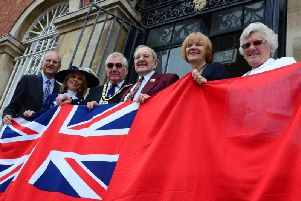 Honouring the Merchant Navy: Chairman Brian Roberts, with High Sheriff Julia Upton, Merchant Navy veteran Norman Brookes and his family members Nick Fennes and Sue Granshaw, and Chairman's Escort Margaret Roberts