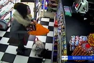 CCTV footage of Georgina at Clifton Food and Wine in Clifton Road, Worthing, on March 7
