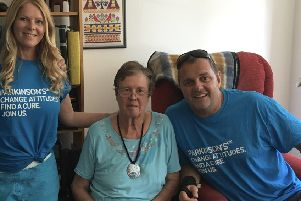 Andy Peck with his mum, Gill Cornaby, and his wife Rachel Peck
