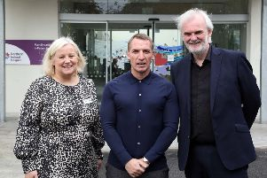 Leicester City manager Brendan Rodgers (centre) with Northern Ireland Hospice CEO Heather Weir and comedian Tim McGarry, who co-hosted a Ambassador breakfast at Northern Ireland Hospice. Picture by Darren KIdd / Press Eye