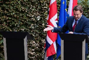Prime minister Xavier Bettel holding that press conference without Boris Johnson. Picture: PA Photo.