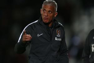 Keith Curle did not hold back during his half-time team talk at the Lamex. Picture: Pete Norton